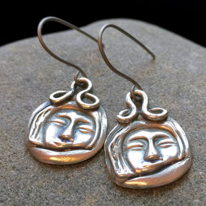 Fine Silver Earrings, Eskimo Faces, Native American, PMC 960, Titanium Ear Wires, Hypoallergenic
