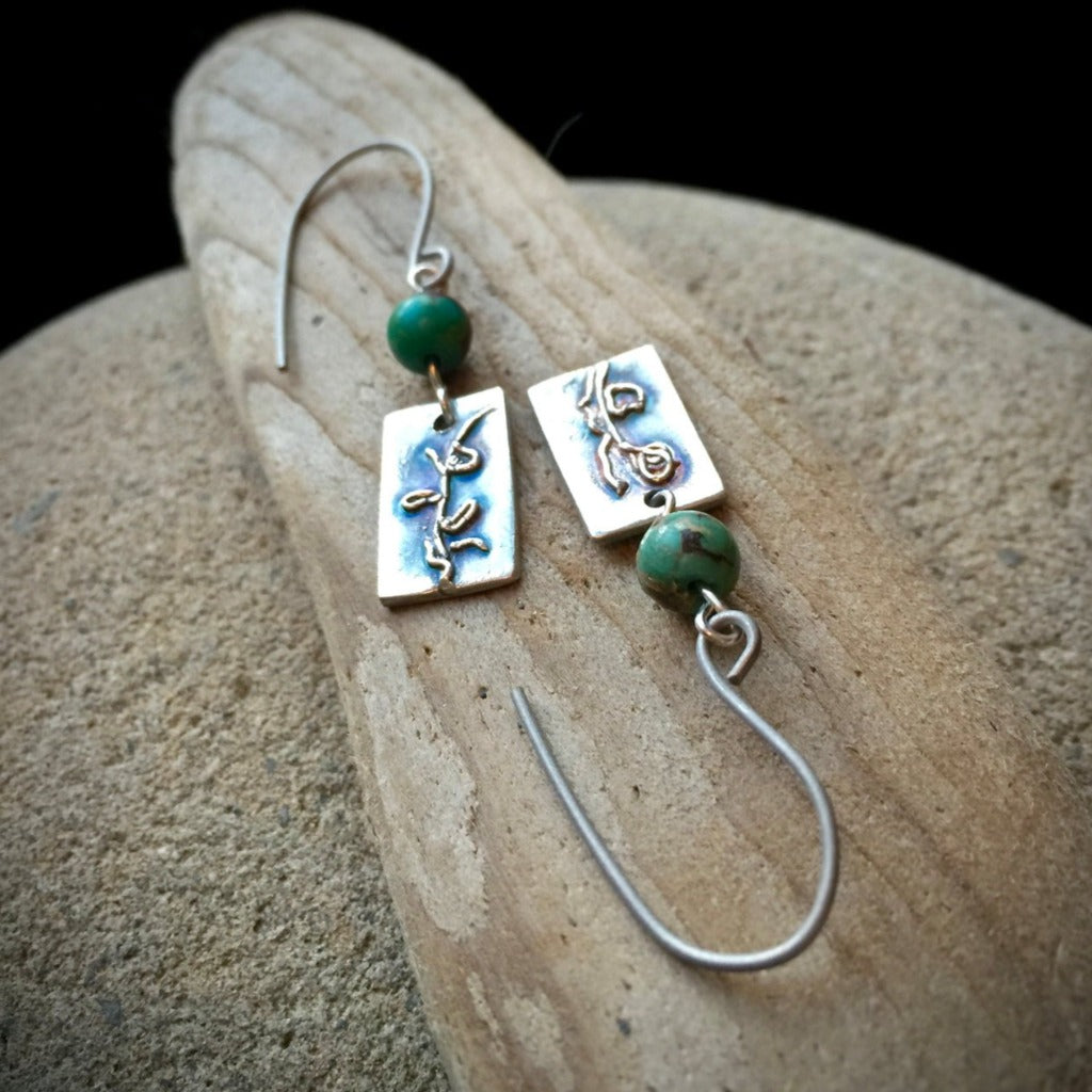 Fine Silver Earrings w/ African Turquoise Beads, Abstract Plant, Titanium Ear Wires, PMC, Botanical - Shungite Queen