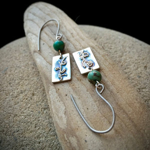 Fine Silver Earrings, African Turquoise, Abstract, Plants, Botanical