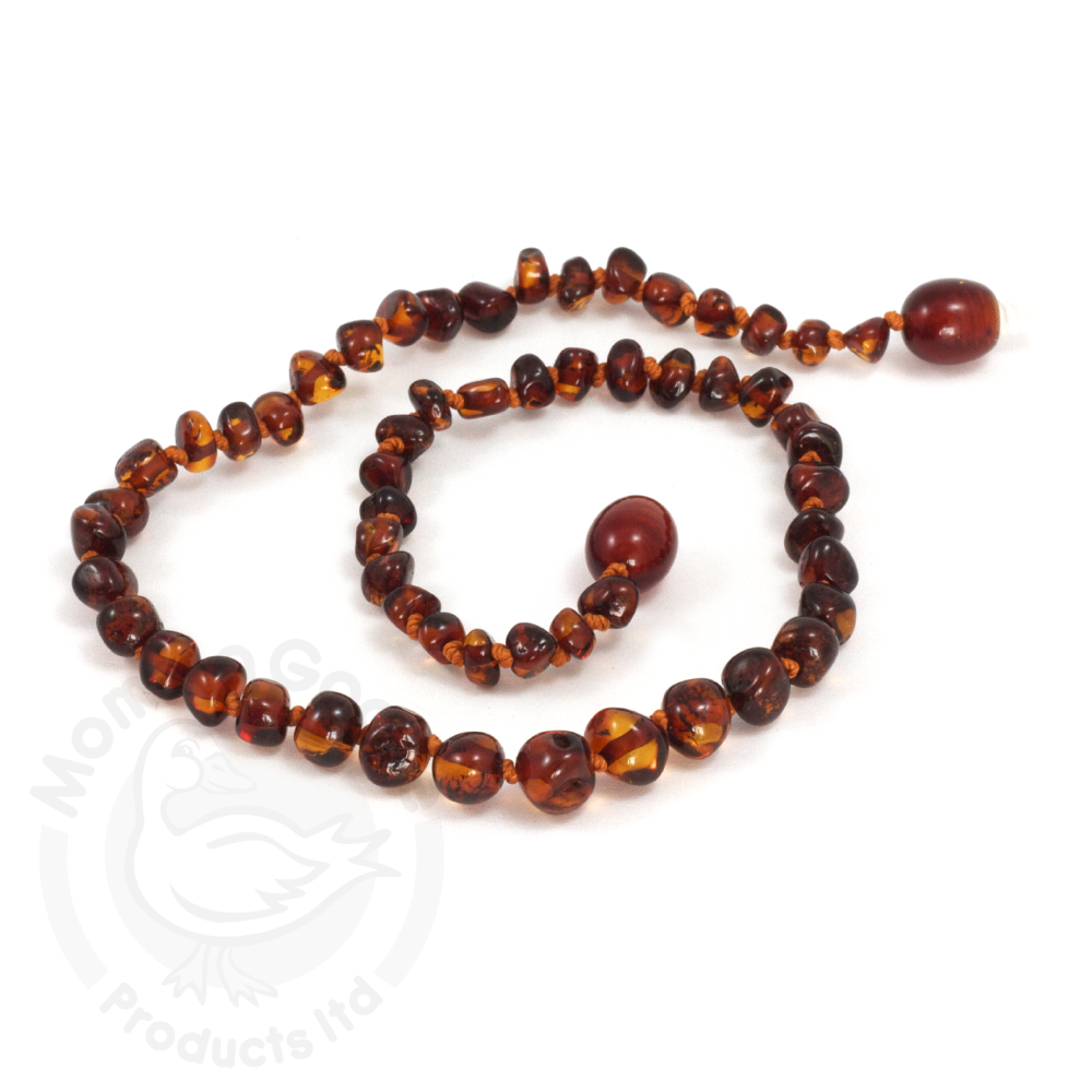 Momma Goose Baby Amber Necklace - Baroque Cherry