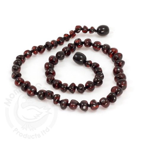 Momma Goose Baby Amber Necklace - Baroque Dark Cherry