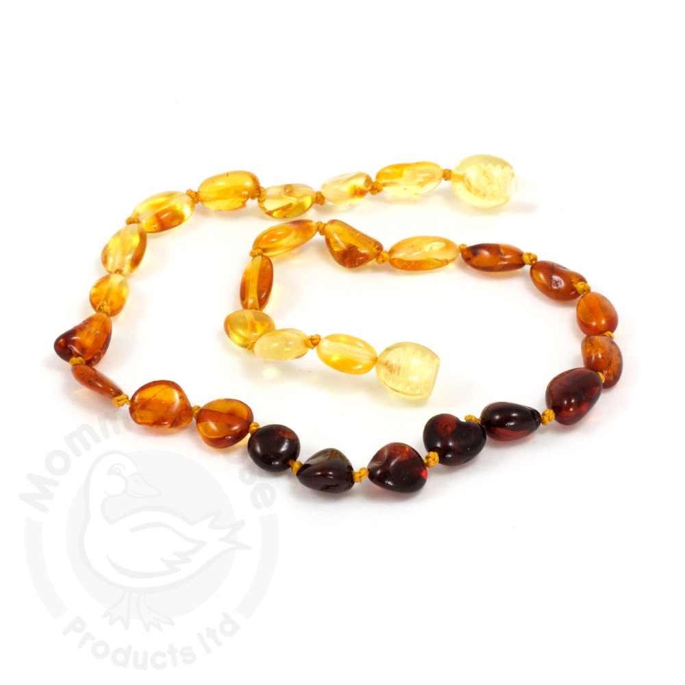 Momma Goose Baby Amber Necklace - Olive Rainbow