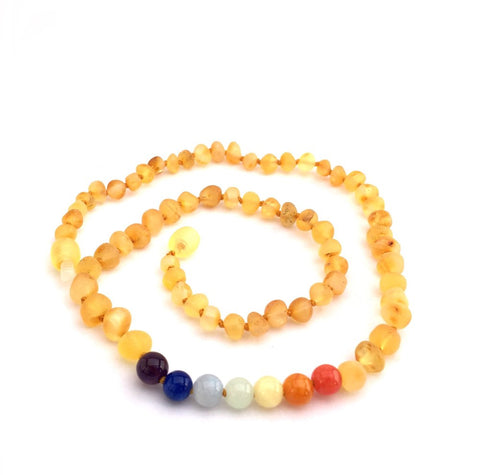 Momma Goose Baby Amber Necklace - Raw Lemon & Rainbow Gem