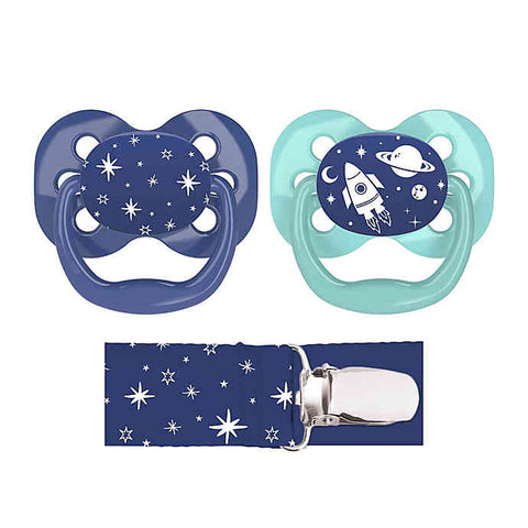Dr. Brown's Advantage Pacifiers, Stage 1 (0-6m), Blue Space, 2 count