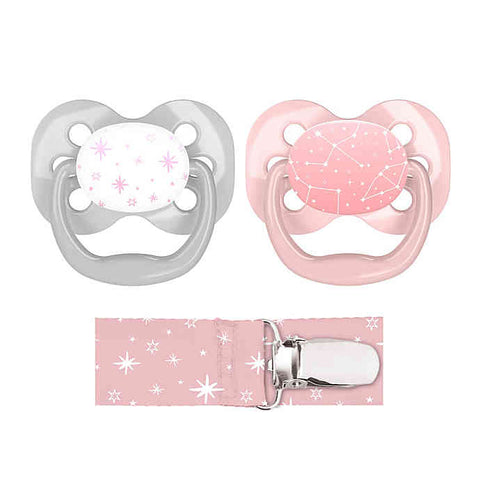 Dr. Brown's Advantage Pacifiers, Stage 1 (0-6m), Pink Stars, 2 count