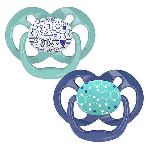 Dr. Brown's Advantage Pacifiers, Stage 2 (6-12m), Blue Chemistry, 2 count
