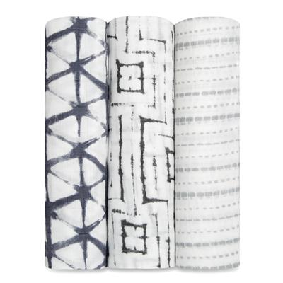 Aden and Anais Swaddle Wrap 3 Pack - pebble shibori - Traveling Tikes