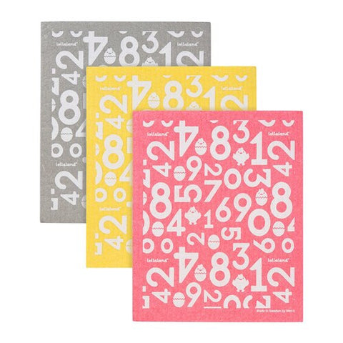 Lollaland Sponge Cloths (3-pack) - Red, Yellow, Grey