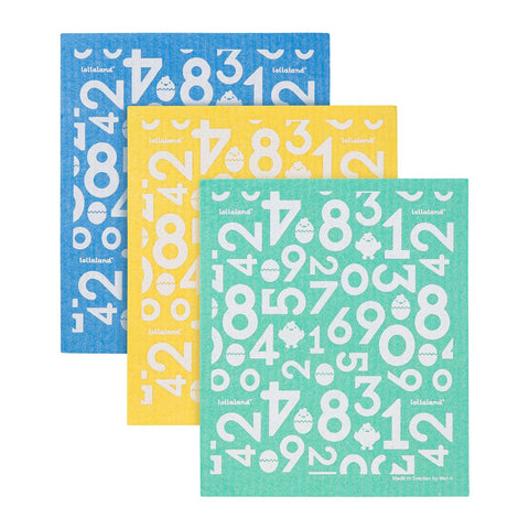 Lollaland Sponge Cloths (3-pack) - Green, Yellow, Blue
