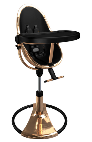Bloom Fresco Rose Gold Base High Chair-Midnight Black