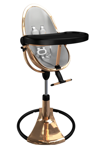 Bloom Fresco Rose Gold Base High Chair-Lunar Silver