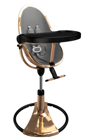 Bloom Fresco Rose Gold Base High Chair-Snakeskin Grey