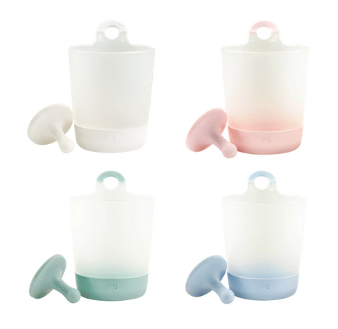 Puj Rinse and Play - Hangable Kids Cups (Scandinavian Colors) - Marshmallow + Blush + Sage + Periwinkle (4-Pack)