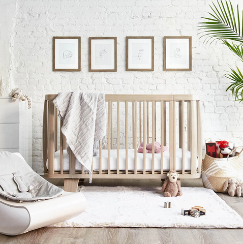 Bloom Retro Solid Wood Crib - Beach House Grey