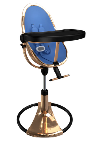 Bloom Fresco Rose Gold Base High Chair-Cobalt Blue