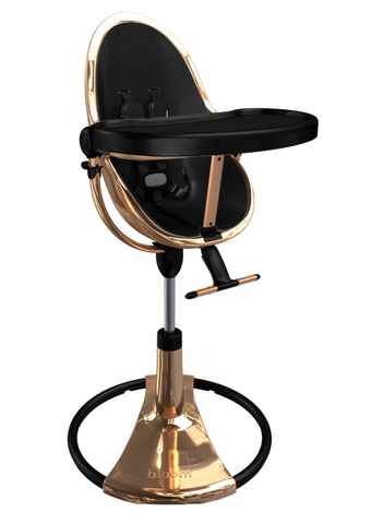 Bloom Fresco Rose Gold Base High Chair-Snakeskin Black