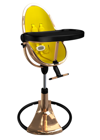 Bloom Fresco Rose Gold Base High Chair-Canary Yellow