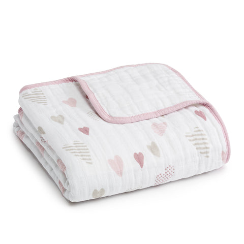 Aden and Anais Classic Dream Blanket - Heart Breaker - Traveling Tikes