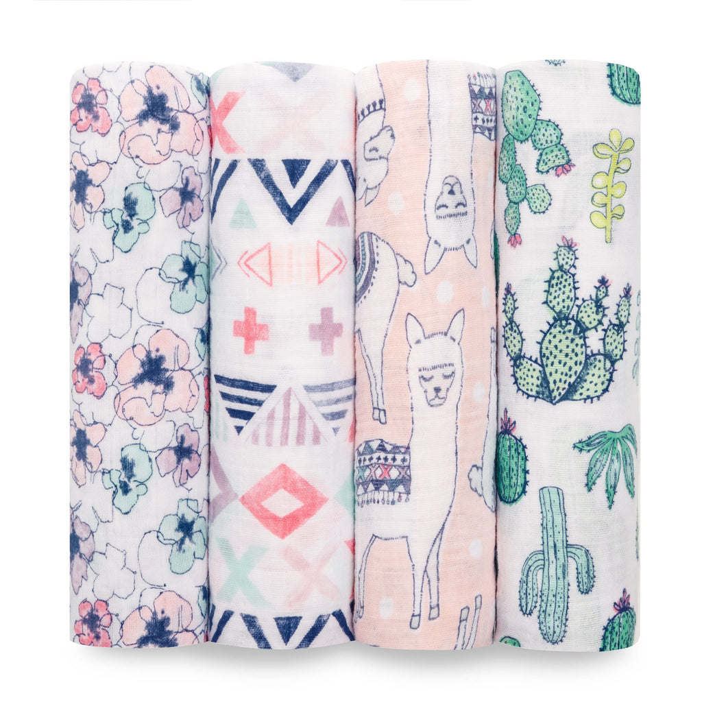 Aden and Anais Swaddle Wrap 4 Pack - Trail Blooms - Traveling Tikes