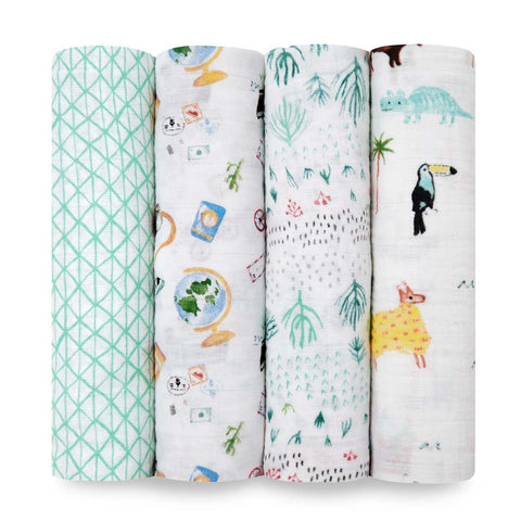 Aden and Anais Swaddle Wrap 4 Pack - Around The World