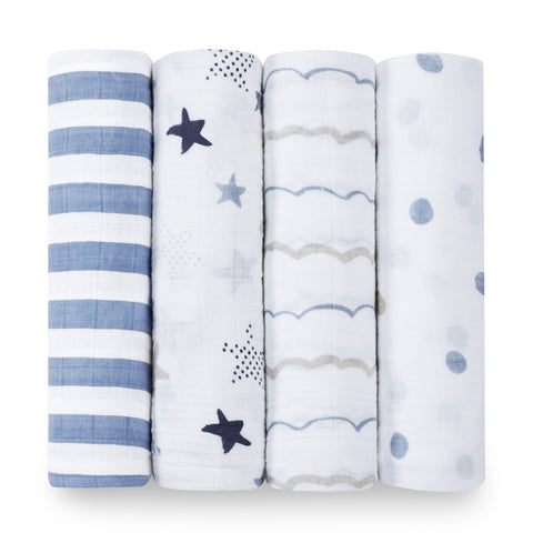 Aden and Anais Swaddle Wrap 4 Pack - Rock Star