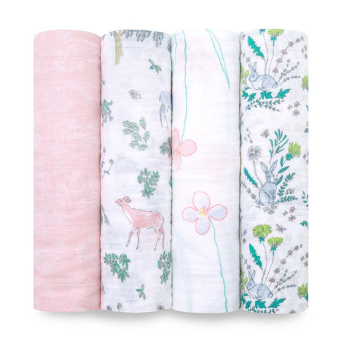 Aden and Anais Swaddle Wrap 4 Pack -Forest Fantasy