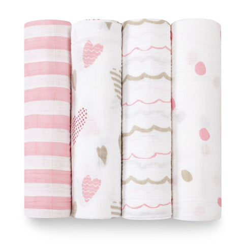 Aden and Anais Swaddle Wrap 4 Pack - Heart Breaker