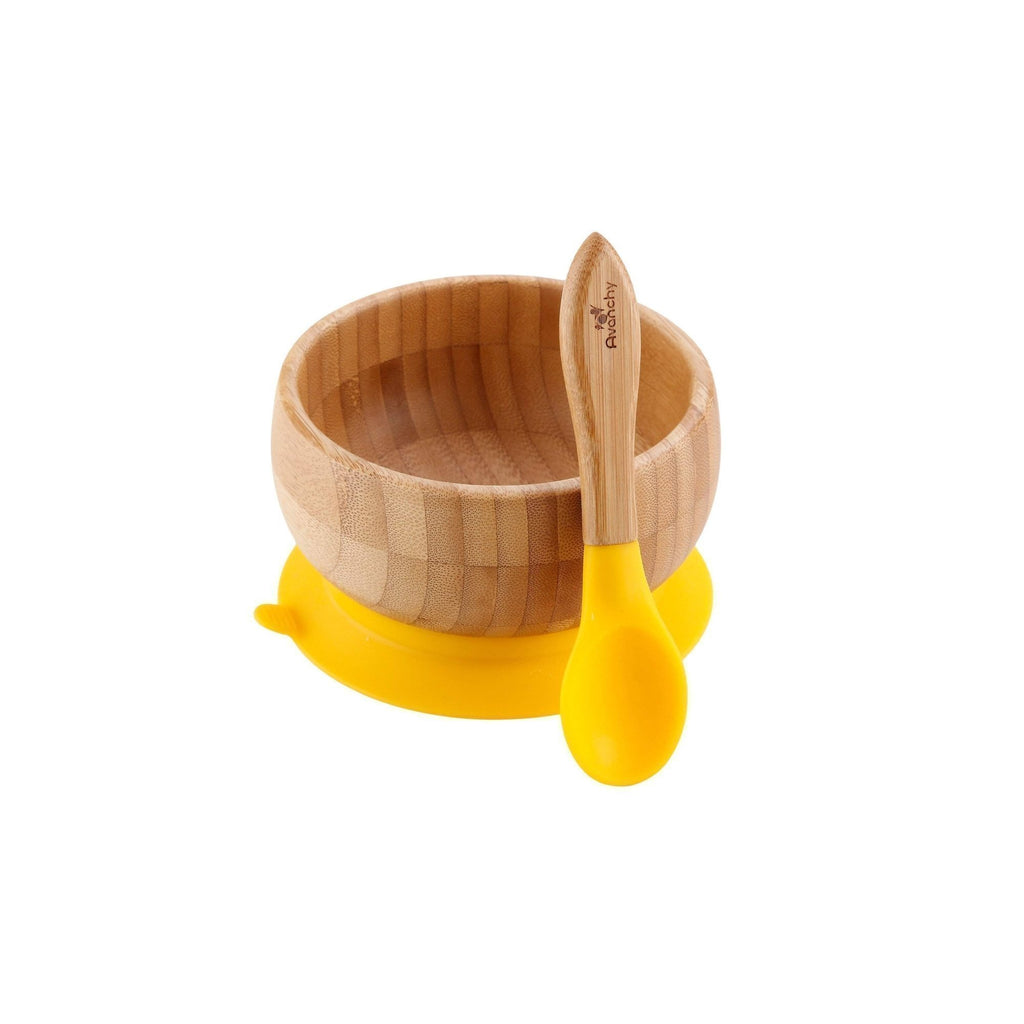 Avanchy Bamboo Stay Put Suction Baby Bowl + Spoon - Yellow - Traveling Tikes