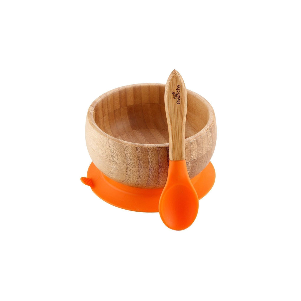 Avanchy Bamboo Stay Put Suction Baby Bowl + Spoon - Orange - Traveling Tikes