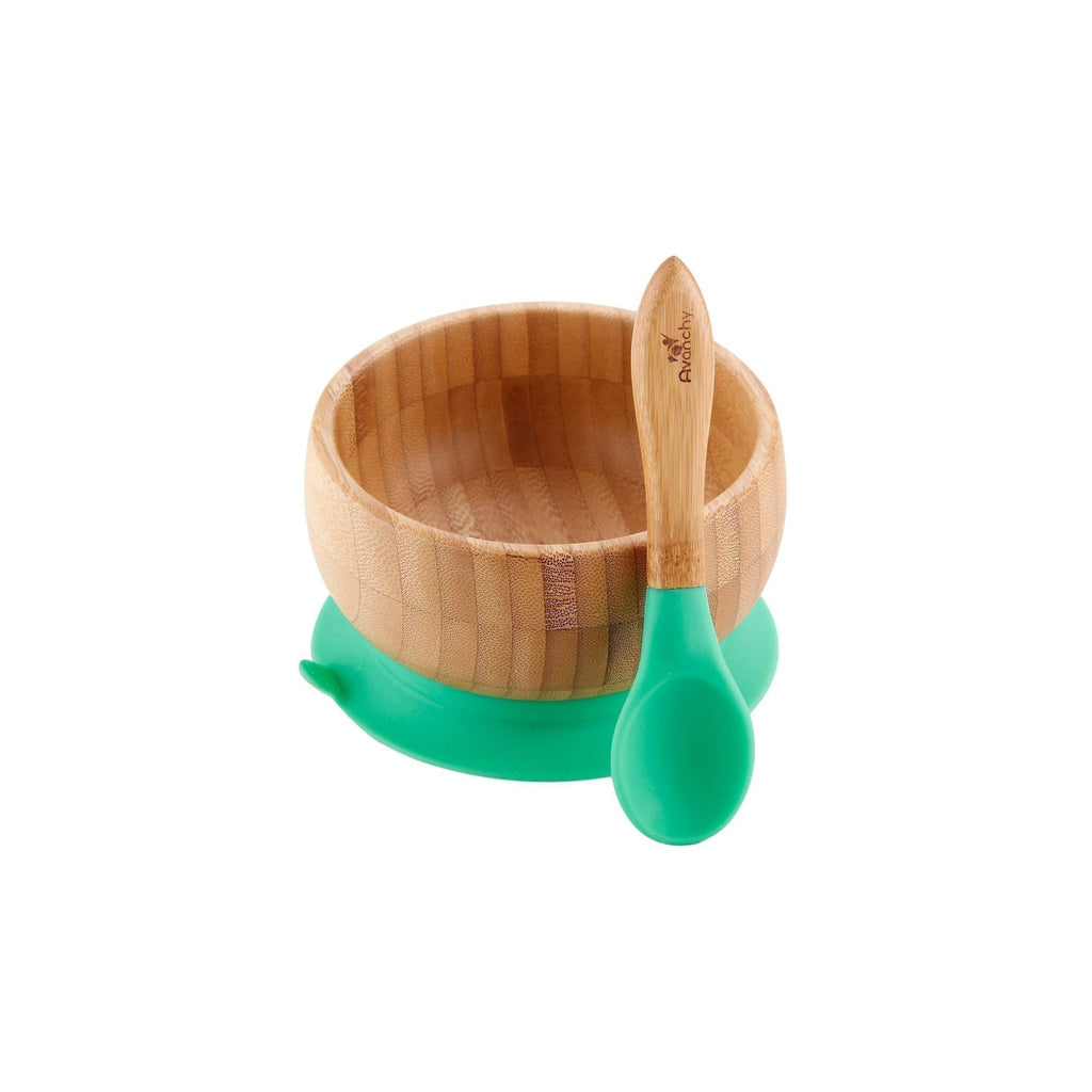 Avanchy Bamboo Stay Put Suction Baby Bowl + Spoon - Green - Traveling Tikes
