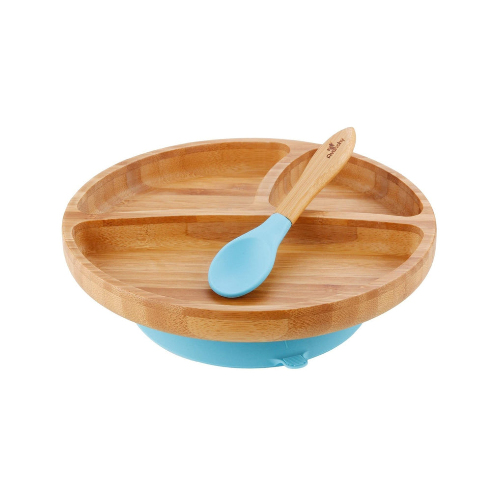 Avanchy Bamboo Suction Toddler Plate + Spoon - Blue