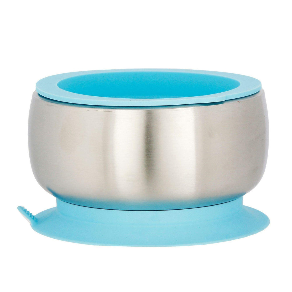Avanchy Stainless Steel Suction Baby Bowl + Air Tight Lid - Blue - Traveling Tikes