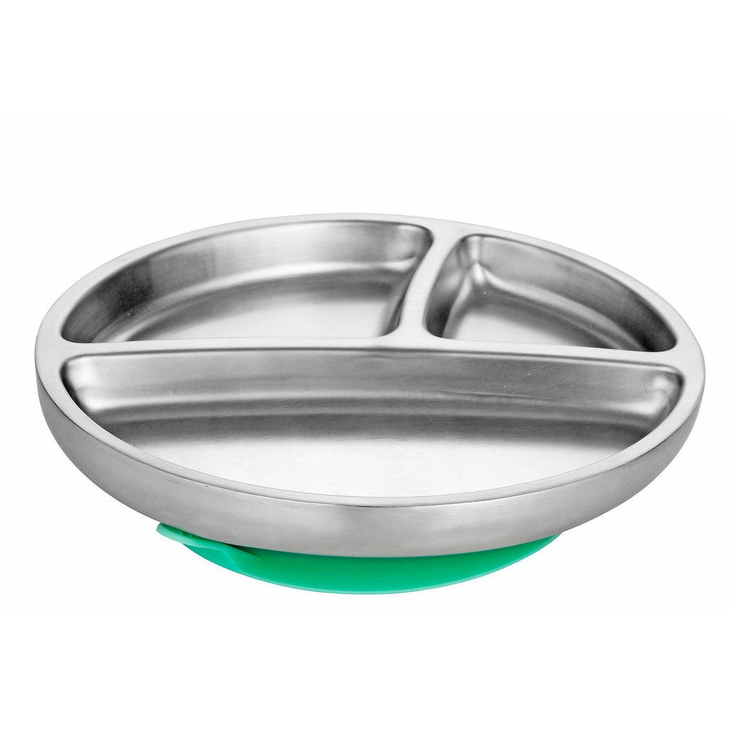 Avanchy Stainless Steel Suction Toddler Plate - Green - Traveling Tikes