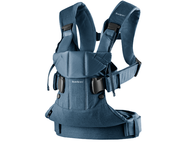 Baby Bjorn 2019 Baby Carrier One - Classic Denim/Midnight Blue Cotton Mix - Traveling Tikes
