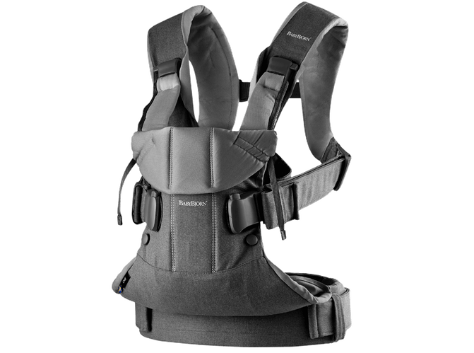 Baby Bjorn 2019 Baby Carrier One - Denim Gray/Dark Gray Cotton Mix - Traveling Tikes