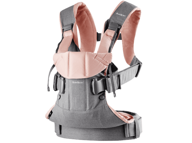 Baby Bjorn 2019 Baby Carrier One - Gray/Powder Pink Cotton Mix - Traveling Tikes