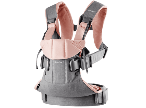Baby Bjorn 2019 Baby Carrier One - Gray/Powder Pink Cotton Mix