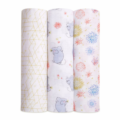 Aden and Anais Swaddle Wrap 3 Pack - Lunar New Year