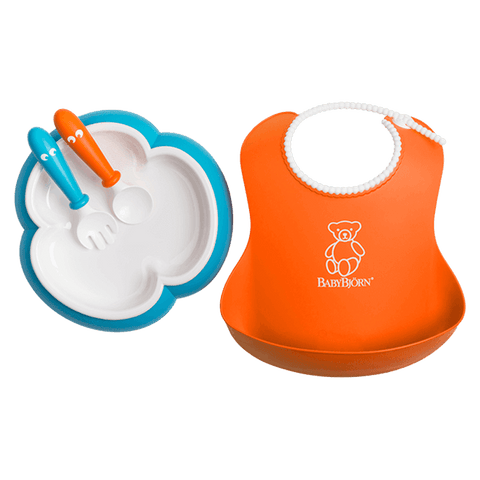 Baby Bjorn Baby Feeding Set - Orange/Turquoise - Traveling Tikes
