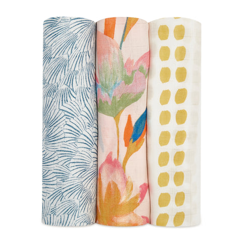 Aden and Anais Swaddle Wrap 3 Pack - Marine Gardens