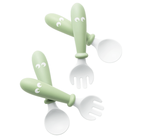 Baby Bjorn Baby Spoon and Fork, 4 pcs - Powder Green - Traveling Tikes