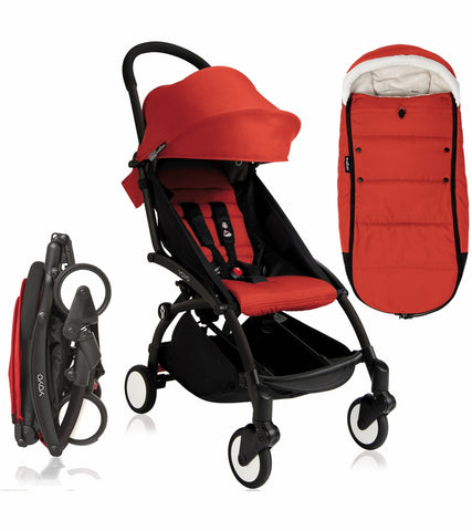 Babyzen 2020 Yoyo 2 Stroller & Polar Footmuff - Black / Red
