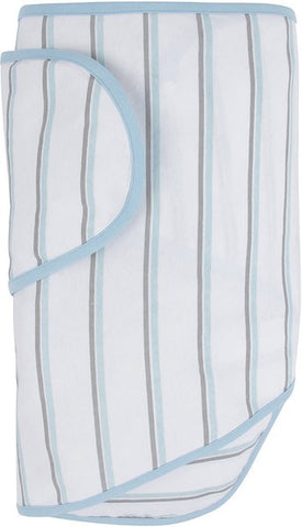 Miracle Blanket - White with Blue and Grey Stripes