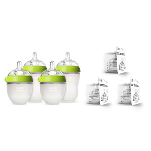 Comotomo 7-Piece Baby Bottle Gift Set in Green