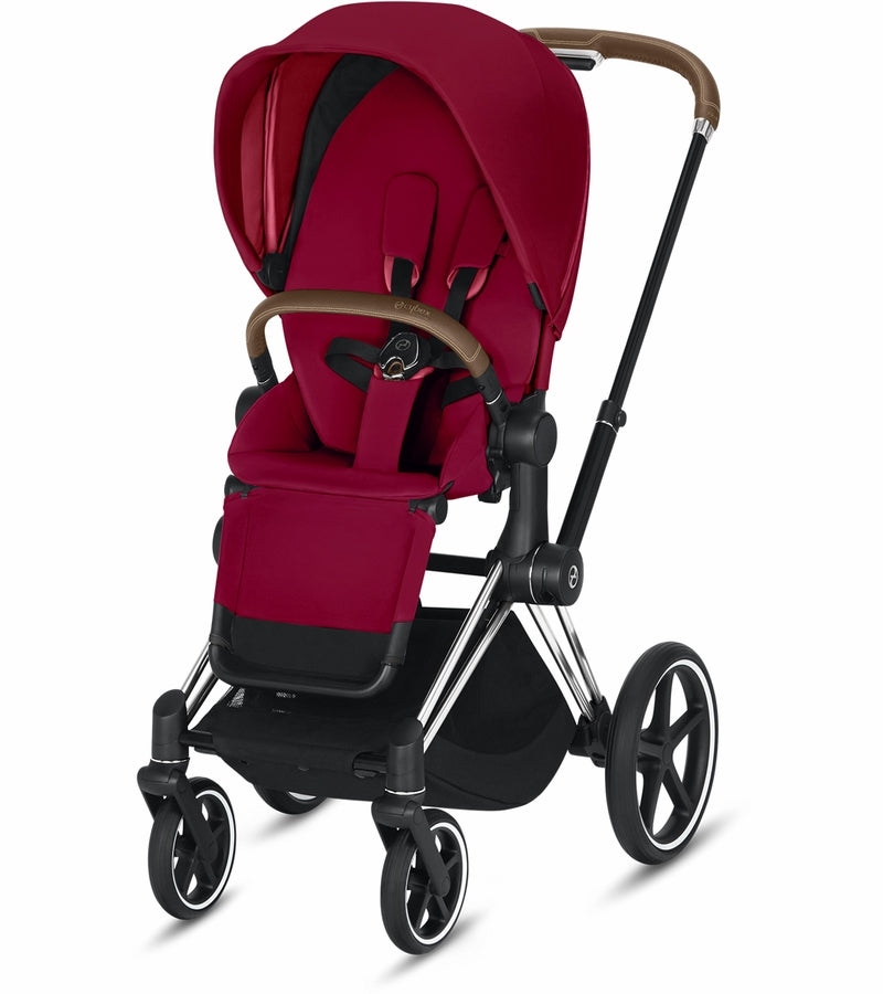 Cybex Priam Complete Stroller - Chrome/Brown/True Red