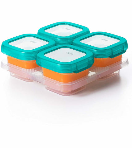 OXO Tot Baby Glass Baby Blocks Storage Containers, 4 oz - Teal
