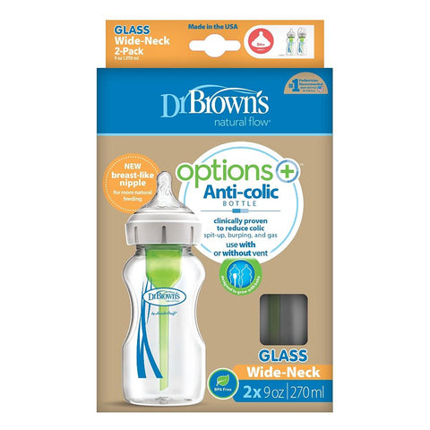Dr. Brown's Options+ Wide-Neck Glass Bottle, 9 oz - 2 Pack