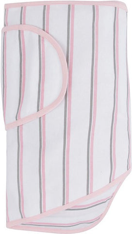 Miracle Blanket - White with Pink and Grey Stripes