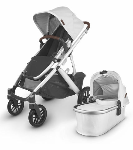 UPPAbaby 2020 Vista V2 Stroller - Bryce (White Marl/Silver/Chestnut Leather)