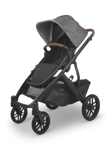 UPPAbaby 2021 Vista V2 Stroller - Greyson (Charcoal Melange/Black/Brown Leather)
